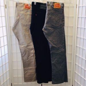 3 pair of LEVIS 511 Slim, 33, 32 jeans.